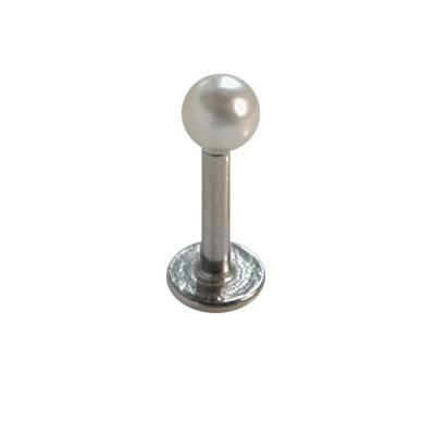 Piercing oreja, tragus, cartílago con palo recto con una perla y un disco de tope, 6mm de largo