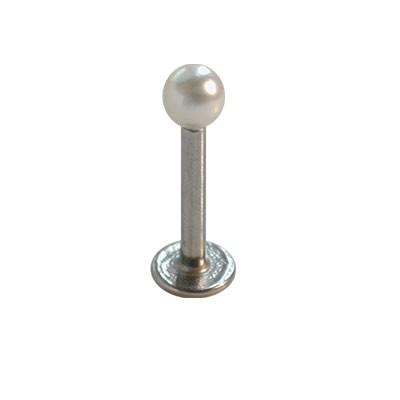 Piercing oreja, tragus, cartílago con palo recto con una perla y un disco de tope, 8mm de largo