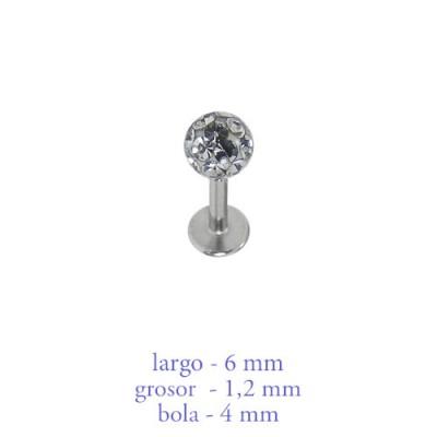 Piercing oreja, tragus, cartílago con palo recto y bola con muchas piedras 4mm y un disco de tope, 6mm de largo