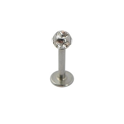 Piercing oreja, tragus, cartílago con palo recto y bola con muchas piedras 3mm y un disco de tope, 7mm de largo