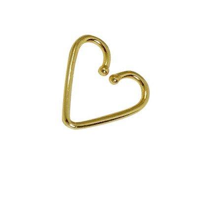 Piercing falso en forma de corazón para la oreja, tragus, helix, cartílago de plata 925, color dorado
