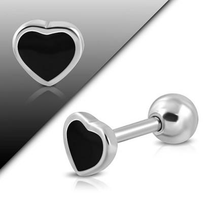 Piercing oreja, tragus, cartílago y lóbulo, corazon 6mm de acero, largo 7mm