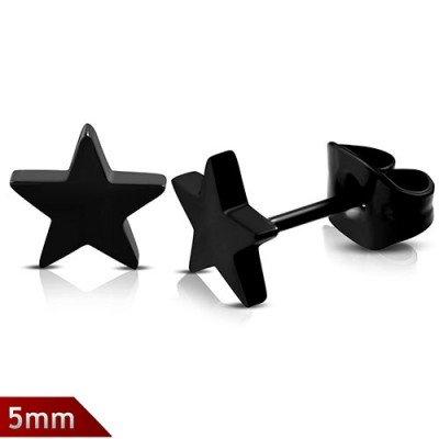 Pendiente estrella negra, 5mm de largo, acero quirúrgico. Precio por un pendiente