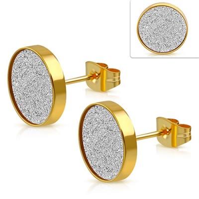 Pendiente hombre disco dorado efecto diamantado, 10mm de diámetro, acero quirúrgico. Precio por un pendiente