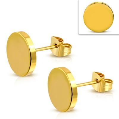 Pendiente hombre disco dorado, 10mm de diámetro, acero quirúrgico. Precio por un pendiente