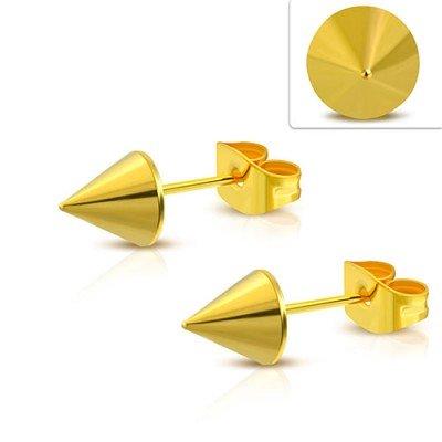 Pendiente hombre en forma de cono dorado, 6mm, acero quirúrgico. Precio por un pendiente