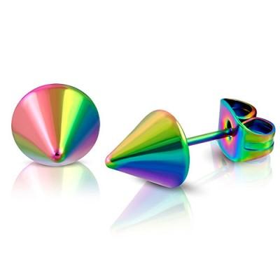 Pendiente hombre en forma de cono multicolor, 6mm, acero quirúrgico. Precio por un pendiente