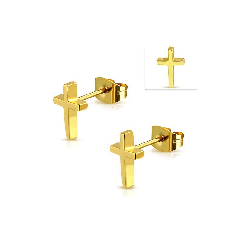 Pendiente hombre cruz dorada 7mm largo acero quir rgico - Acero modular precios ...