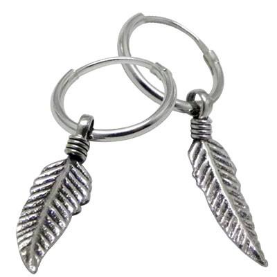 Boucle d'oreille en argent homme, anneau avec plume, 20 mm x 5 mm. Prix par unite