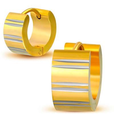 Aro ancho de acero quirúrgico dorado liso. El precio es por un aro