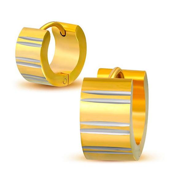 Aro ancho de acero quirúrgico dorado con lineas color acero. El precio es por un aro