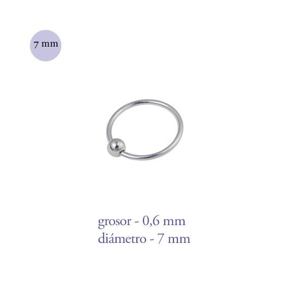Aro nariz con bola de plata de ley, diámetro 7mm, grosor 0,6mm