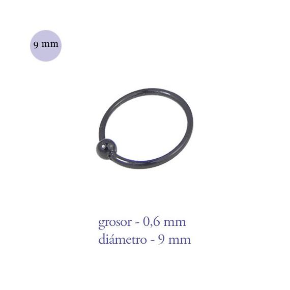Aro nariz con bola de plata de ley negro, diámetro 9mm, grosor 0,6mm