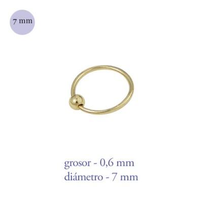 Aro nariz con bola de plata de ley dorado, diámetro 7mm, grosor 0,6mm