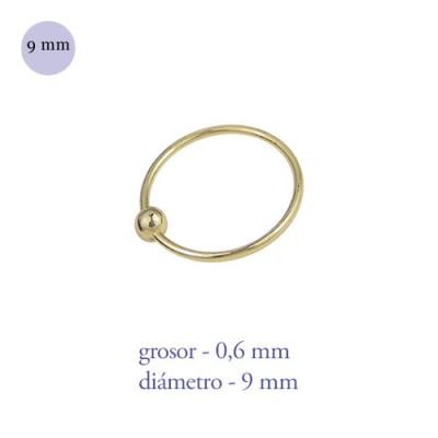 Aro nariz con bola de plata de ley dorado, diámetro 9mm, grosor 0,6mm