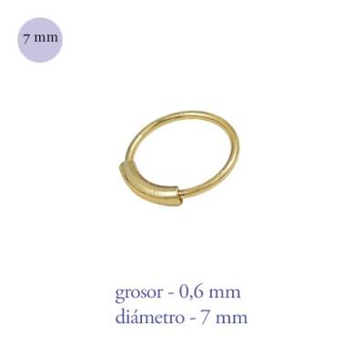 Aro nariz con barra de plata de ley dorado, diámetro 7mm, grosor 0,6mm