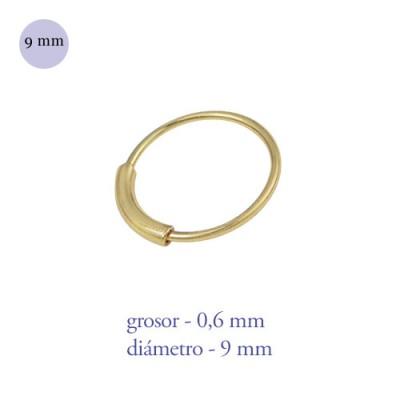 Aro nariz con barra de plata de ley dorado, diámetro 9mm, grosor 0,6mm
