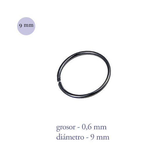 Aro nariz cerrado de acero negro, diámetro 9mm, grosor 0,6mm