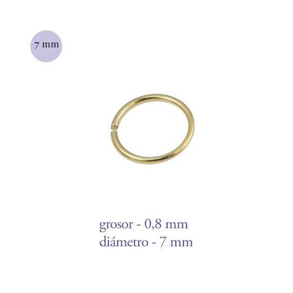 Aro nariz cerrado de acero dorado, diámetro 7mm, grosor 0,8mm