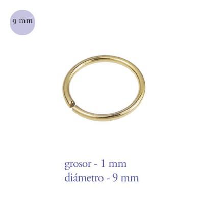 Aro nariz cerrado de acero dorado, diámetro 9mm, grosor 1mm