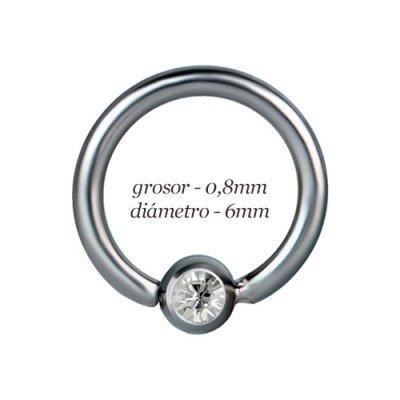 Aro pequeño tragus oreja, bola con piedra fija, diámetro 6mm, grosor 0,8mm