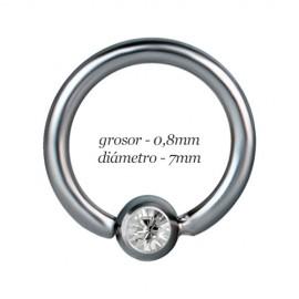 Aro tragus oreja, bola con piedra fija, diámetro 7mm, grosor 0,8mm