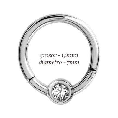 Aro tragus oreja con cierre bisagra de click y bola con piedra, diámetro 7mm, grosor 1,2mm