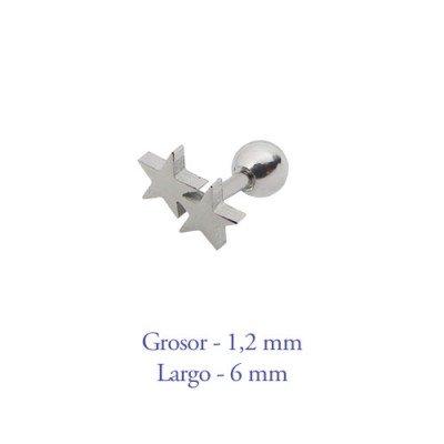 Tragus oreja dos estrellas juntas, 6mm de largo de acero quirúrgico