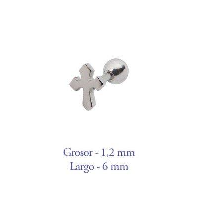 Tragus oreja cruz, largo 6mm, grosor 1,2mm