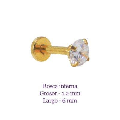 Tragus oreja dorado, palo recto con circonita blanca 4mm, rosca interna