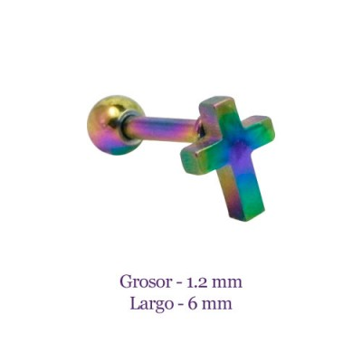 Tragus oreja multicolor, forma de cruz lisa, grosor 1,2mm