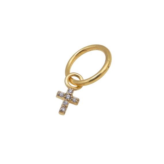 Aro lóbulo oreja con cruz con piedras colgando dorado