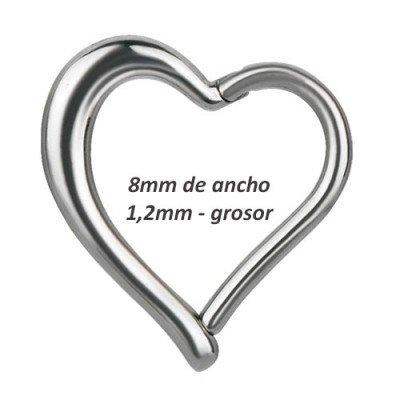 Corazón daith, rook oreja derecha, ancho 8mm