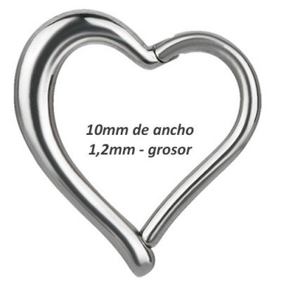 Corazón daith, rook oreja derecha, ancho 10mm