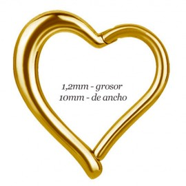 Corazón daith, rook oreja derecha dorado, ancho 10mm