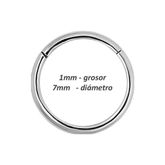 Aro hélix oreja liso, cierre bisagra con click, 7mm, grosor 1mm