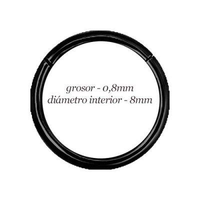 Aro hélix oreja liso negro, cierre bisagra con click, 8mm, grosor 0,8mm