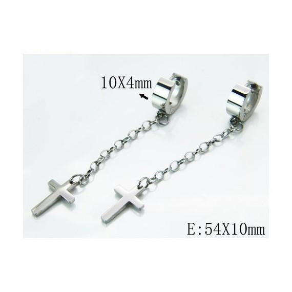 Aro con cadena larga 54mm y cruz colgando de acero