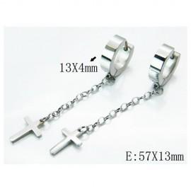 Aro con cadena larga 57mm y cruz colgando de acero