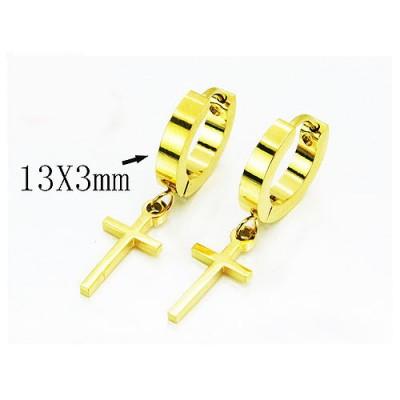Aro con cruz colgando dorado de acero, 13x3mm
