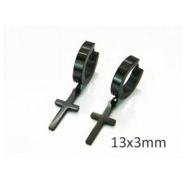 Aro con cruz colgando negro de acero, 13x3mm