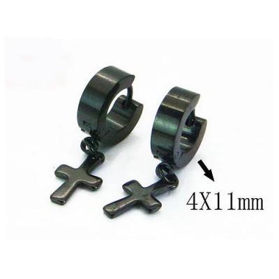 Aro pequeño con cruz colgando negro, acero inoxidable, 4x11mm