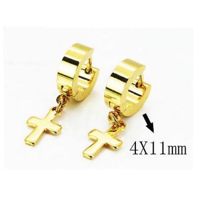 Aro pequeño con cruz colgando dorado, acero inoxidable, 4x11mm