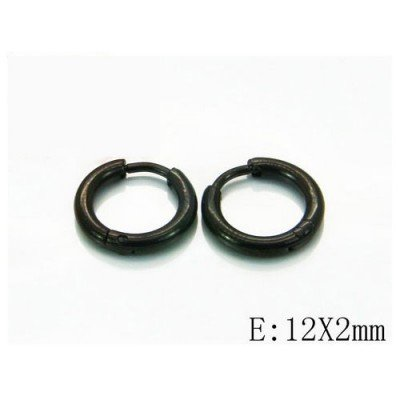 Aro hombre liso redondo negro, acero inoxidable, 12x2mm