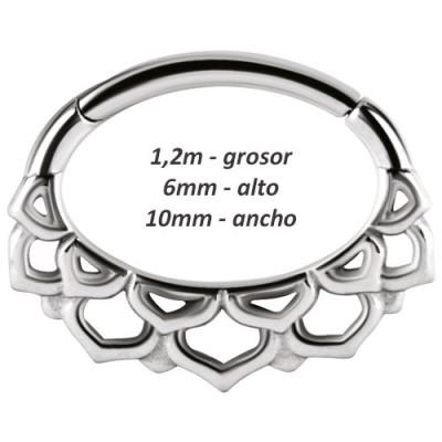 Aro daith, rook oreja de diseño, ancho 10mm.Ref. GDAT24