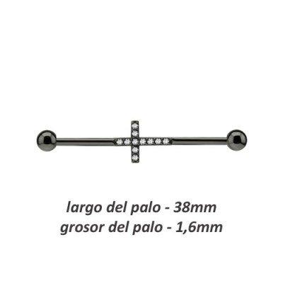 Piercing industrial cruz con piedras, acero negro