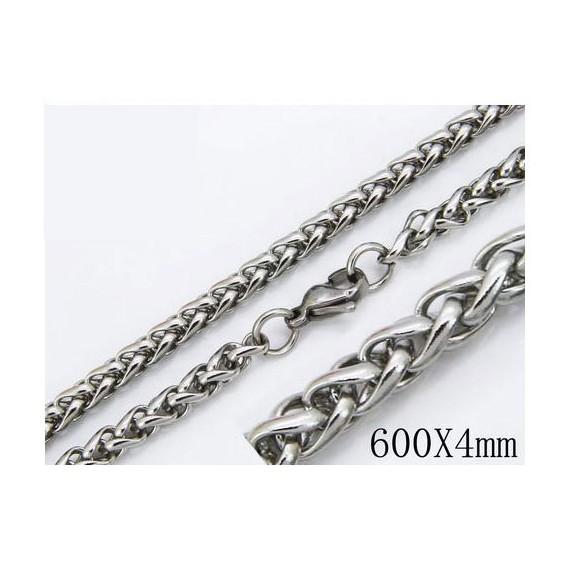 Cadena cordon redondo acero quirúrgico inoxidable, calidad, 60cm largo, 4mm ancho