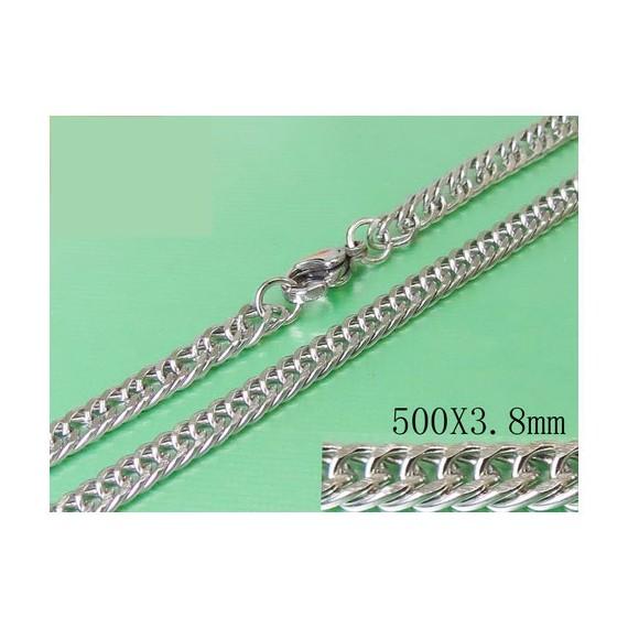 Cadena plana, unisex, acero quirúrgico inoxidable, calidad, 50cm largo y 3,8mm ancho.
