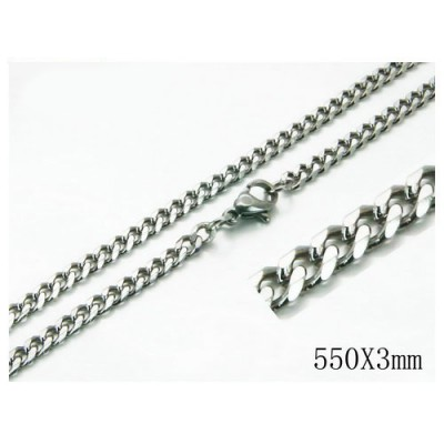 Cadena plana, unisex, acero quirúrgico inoxidable, calidad, 55cm largo y 3mm ancho.