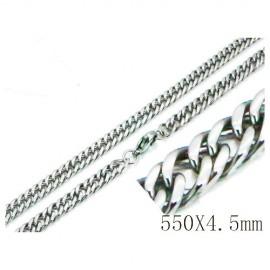 Cadena plana, acero quirúrgico inoxidable, calidad, 55cm largo y 4,5mm ancho